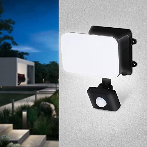 FOMYHEARD 15W Faretto LED con Sensore di Movimento 1200LM Farettia LED 6500K Proiettore Esterno Luce di Sicurezza Impermeabile IP65 Faro LED con Crepuscolare per Giardino Garage