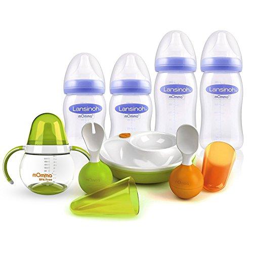 Mega-Set Lansinoh PP Flaschen Set mit NaturalWave Sauger & Lansinoh mOmma Lernset Warmhalteteller Löffel & Gabel // mOmma Trinklernbecher Steh-auf-Funktion