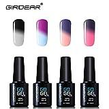 Girdear Smalto Semipermente Soak Off UV LED Smalti per Unghie in Gel per Manicure che Cambia Colore con la Temperatura 4 Pcs Set 10ml C030