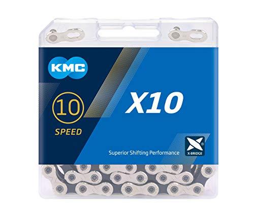 KMC X10 Chain, Catena Unisex Adulto, Silver/Black, 1/2' x 11/128'