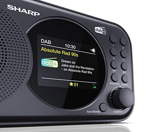 SHARP DR-P320 (BK) DAB+ Digital Radio, DAB/DAB +/FM mit RDS-Lauftext, Alarm-/Schlummerfunktion, Schwarz