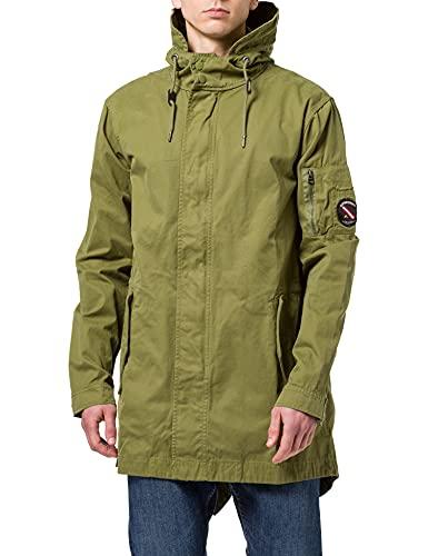 Superdry Mens Service Fishtail Parka Jacket, Lieutenant Olive, XL
