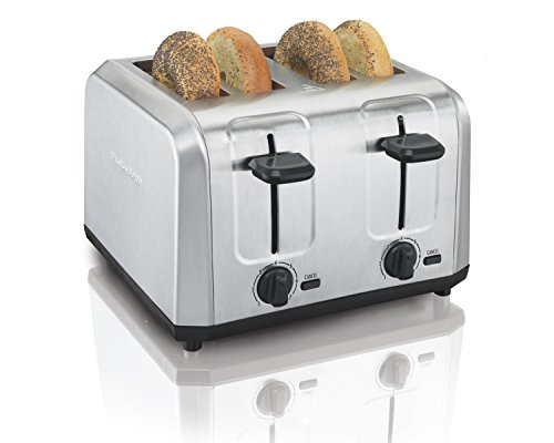Hamilton Beach Brushed Stainless Steel 4 Slice Extra Wide Toaster with Shade Selector, Toast Boost,...