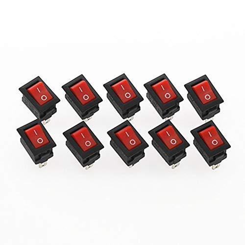 Interruptor basculante 20pcs interruptor del empuje del botón 10x15mm 3A 250V KCD11 complemento de encendido / apagado Interruptor oscilante 10MM * 15MM Rojo Blanco y Negro para coche, barco, camión