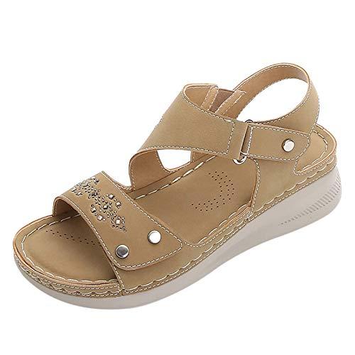 MQJ Sandalias para Mujer Sandalias de Cuña Tacón de Punta Abierta Flip Flops Bohemian Style Summer Causal Causal Zapatos de Playa con Hebilla Ajustable Mujeres Confort Zapatos Planos Khaki,Caqui,6.5