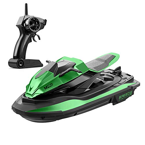 XFUNY RC Boat 2.4GHz Remote Control Boat with Dual Motor, Water Inducing System, Low Battery Alarm Remote Control Boats for Pools and Lakes for Kids and Adults (Green)