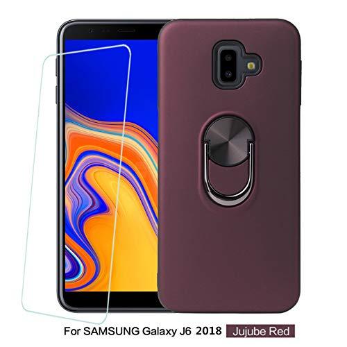 Joytag Compatible For Samsung Galaxy J6 2018 case+ Gehard glas film roterende ring magnetische Houder auto telefoonhoesje TPU Silicon Bumper beschermhoes - Zwart, Rode Wijn, Samsung Galaxy J6 2018