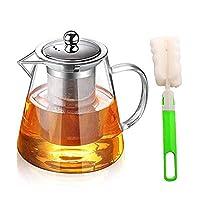 yispirin teiera in vetro trasparente, teiera in vetro con filtro in acciaio inox, con filtro asportabile e lavabile per tè profumati teiera vetro con infusore,teiera per tisane 950ml