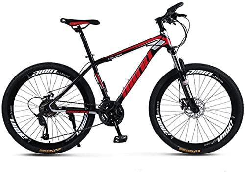 Bicicletas de montaña, 26 pulgadas, hombres y mujeres, adultos, velocidad variable, bicicleta de montaña, carreras, radios, ruedas, marco de aleación con frenos de disco (Color: Negro rojo, Tamaño: