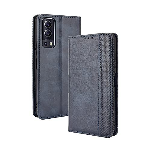 WEIOU Hülle für VIVO Y72 5G Hülle, Premium TPU/PU Leder Klappbar Schutzhülle Tasche Handyhülle mit Standfunktion und Kartensteckplätzen, Blau