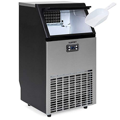 KUPPET Stainless Steel Commercial Ice Maker-Under Counter/Freestanding Automatic Ice Machine for Restaurant Bar Cafe, Products 100lbs Daily-w/Scoop, Ice Basket, Timer & Auto Clean
