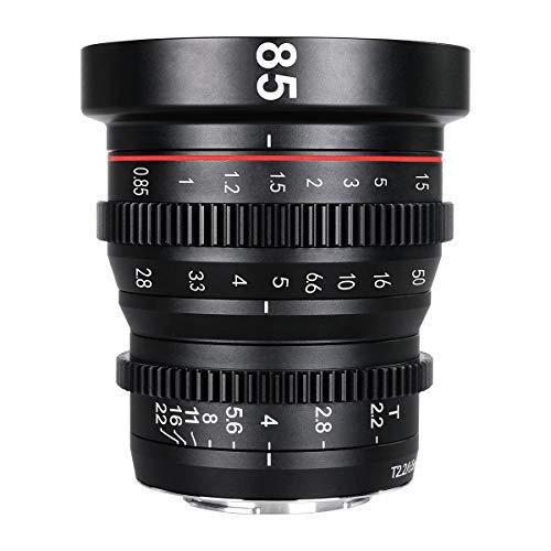 Meike 85 mm T2.2 Lente cinama/Lente de película, Adecuada para grabaciones de películas de Alta resolución en 4k, Fuji-X Mount