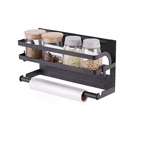 Hopma Estante magnético de almacenamiento para especias con soporte para torre de papel, estante multiusos para refigerador de cocina