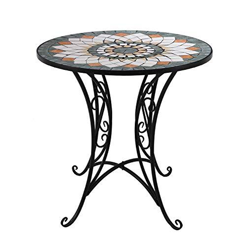 Wohaga® Mosaik Gartentisch rund Ø60cm Mosaiktisch Beistelltisch Bistrotisch Balkontisch Eisen Keramik