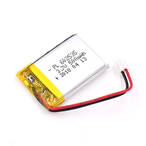 AKZYTUE 3.7V 500mAh 602535 Lipo Battery Rechargeable Lithium Polymer ion Battery Pack with JST Connector