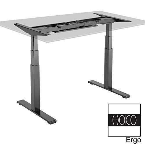 HOKO Ergo-Work-Table Höhenverstellbarer Schreibtisch B, G, W (Premium SCHWARZ, elektrisch mit 2 Motoren)
