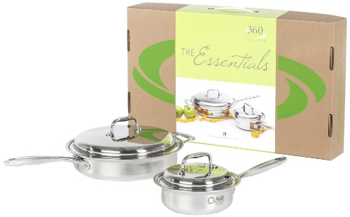 360 Stainless Steel Cookware Set, Handcrafted in the USA, Induction Cookware, Waterless Cookware, Oven Safe, Surgical Grade Stainless Steel Cookware, Pots and Pans Set (4 Piece Set)