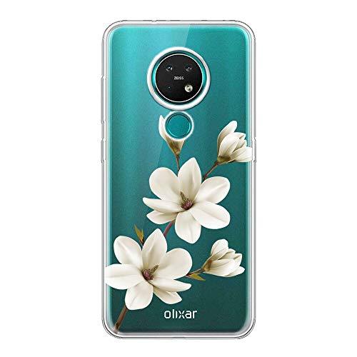 ZhuoFan Nokia 7.2 / Nokia 6.2 Hülle, Ultra Dünn Silikon Clear Schutzhülle Stoßfest mit Muster Motiv Transparent Handyhülle Slim Weich TPU Bumper Cover für Nokia 7.2/6.2 [6.3], Weiße Blume 02