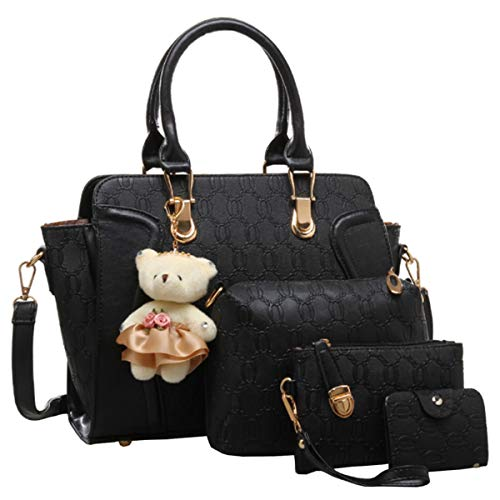 FiveloveTwo Women Ladies 4Pcs Handbag Set Tote Satchel Shoulder Bag PU Top Handle Bag Purse Clutch Card Holder with Bear Ornament Black
