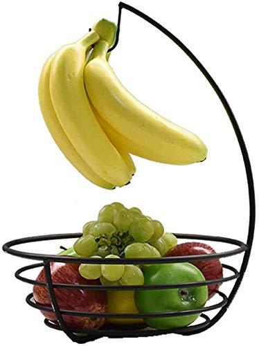 Accessoires voor thuis Boom Banaan Met Banaan haak en Fruit Bowl, Zwarte smeedijzeren Snack Noten Gedroogd Fruitmand (kleur: Champagne kleur) (Color : Black)