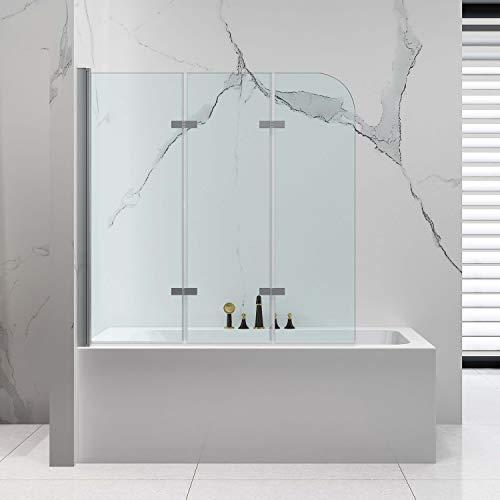 VILSTEIN Duschtrennwand 140x140 | Badewannenaufsatz 3 Teilig | 6mm ESG Sicherheitsglas | Komplett Faltbar | Nano-Versiegelung