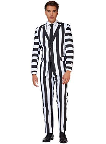 OppoSuits Beetlejuice Herren Anzug - Kostüm bestehend aus Jackett, Hose & Krawatte - Größe: 58