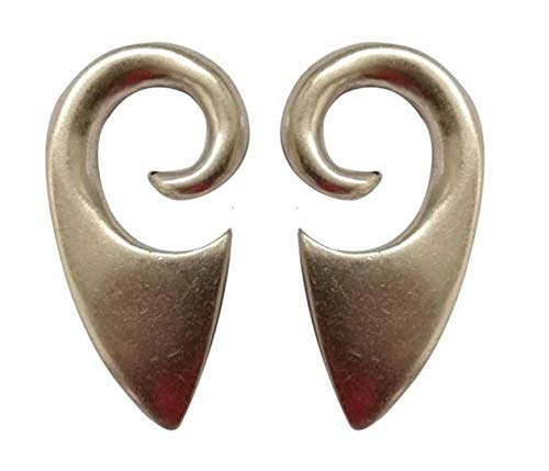 Pesos de oreja de pareja plateados plata para lóbulos estirados - Dos pendientes dilataciones orejas - Earrings Plugs CELTIC - Modelo original único hecho a mano por artesano italiano - h 4,8 cm