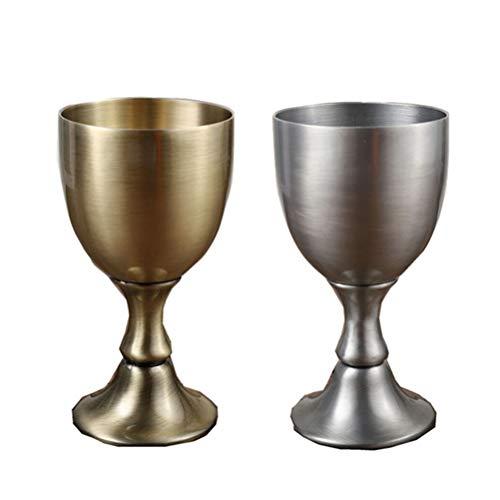 Yousiju Copa de Vino líquida de Vidrio de Cobre Puro Hecho a Mano Copa de Vodka de Vino portátil Personalizado 2 Piezas 100 ml Juego de Copa Vintage (Color : B)