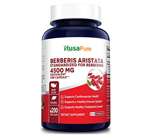 Berberine HCI 4500 mg 200 Vegetarian Caps (Extract 20:1, Non-GMO & Gluten Free) Berberis Aristata - Supports Healthy Blood Sugar Levels & Metabolism, Improves Immunity & Digestion