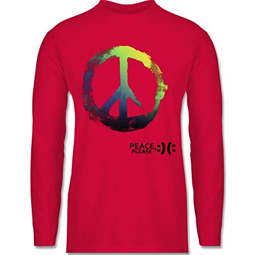 Shirtracer Statement - Frieden, Bitte - Peace, Please - Peacesymbol bunt - S - Rot - Liebe - BCTU005 - Herren Langarmshirt