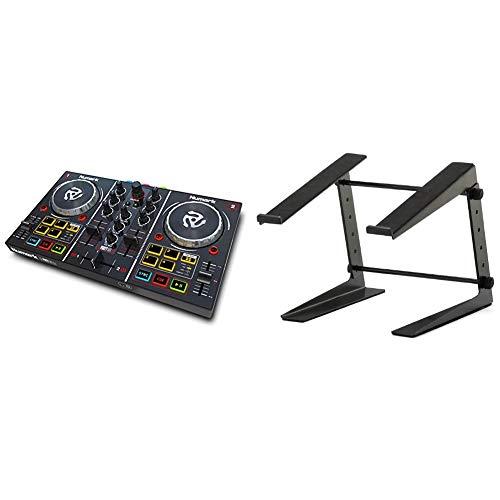 Numark Party Mix - 2 Kanal Plug und Play DJ Controller für Serato DJ Lite mit eingebautem Audio Interface und Kopfhörer Cueing, Pad Performance Steuerung & ah Stands SLT001E Laptopständer