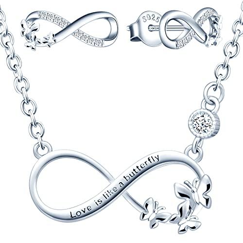 Yumilok collier femme fille, boucles d'oreilles femme, ensemble de bijoux, collier pendentif et boucle d'oreille papillon symbole d'infini, collier et clou d'oreille en argent 925, zircon incrusté