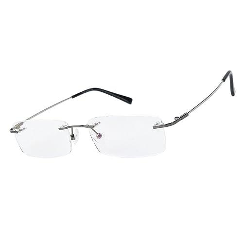 b5698ce810 Agstum Titanium Alloy Flexible Rimless Frame Prescription Eyeglasses  Computer Glasses