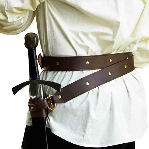 LYY Cuir Épée Grenouille Chevalier Médiéval Pirate Porte-Épée Ceinture Renaissance Cosplay Costume Accessoire Rétro Épée Ceinture pour Hommes Adultes,Marron