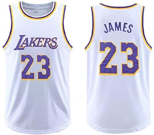 Ropa de Baloncesto Lebron James for Hombres de la Ropa # 23 Lakers sin Mangas de Baloncesto, Baloncesto Jersey sin Mangas de Deportes al Aire Libre de Fitness XS-5XL (Color : White, Size : X-Large)