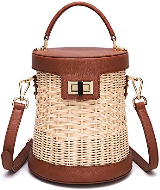 ASHIJIN Woven Wicker, Woven Bag Weave Imported Wicker, Handmade Shoulder Bag