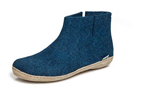 glerups dk G Ankle Shoe - Erwachsene Filz-Stiefel, Damen,Herren Huettenschuhe,Filz-Schuhe,Filz-Pantoffel,Pantoletten,Puschen Blau, 40 EU / 6.5 UK