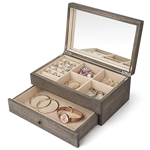 Minggoo Jewelry Organizer Box Two-Layer Jewelry case for Women, Wood Display Case with Mirror&Ring Tray, Vintage Style Weathered Grey