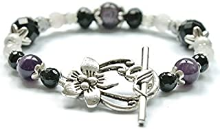 Stress Relief and Anti Anxiety Bracelet Featuring Natural Gemstones Rose Quartz, Amethyst, Black Onyx, Moonstone, Howlite, sleep aid, crystal healing for depression