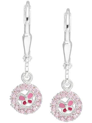 MyGold vlinder oorbellen oorbellen sterling zilver 925 zilver met steen zirkonia roze lak 23 mm x 7 mm meisjesoorbellen blogger trends zomer geschenken voor meisjes kinderen Sweety O-01600-S918-CZC-ros