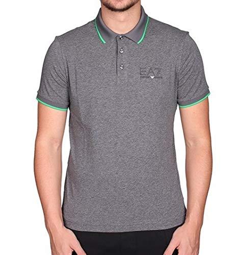 Emporio Armani EA7 Herren Men Polo T-Shirt Poloshirt Slim FIT Grau Melange (M)