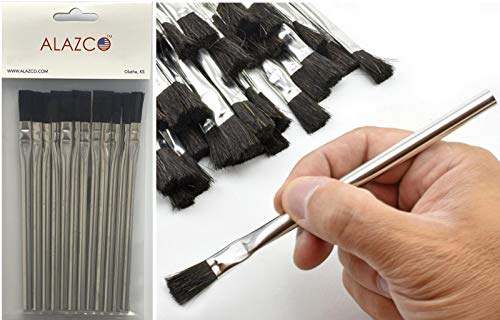 12pc ALAZCO 6' Long 3/8' Acid Brushes Natural Flexible Horsehair Bristles - Tin (Metal) Tubular Handles & Ferrules Home School Work Shop Garage for DIY & Professional Projects