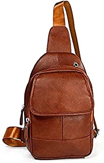 Fashion Single-Shoulder Bags 6023 Casual Litchi Texture Soft Face Genuine Leather One Shoulder Crossbody Bag for Men(Black) (Color : Brown)