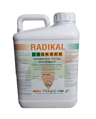 Fitogal Radikal Green Ultra Plus. Envase 5 L. Herbicida de acción total sistémico no Residual para el control de malezas. Glifosato concentrado 36%. Post emergencia.