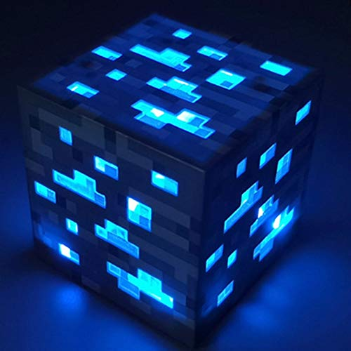 Xssbhsm Lámparas de Mesa para Dormitorio Light Up Minecraft Antorcha LED Luz de Pared Luz Luminosa Juguetes Dibujo Toy Torch Mano (Color : Blue)