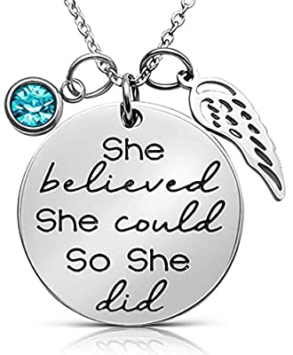 ''She Believed She Could So She Did'' Inspirational Mantra Sayings Quote Pendant Charm Necklace, Jewelry Gift Valentines Day Graduation Presents for Daughter, Granddaughter, Girls Teens Women (Aqua Blue)