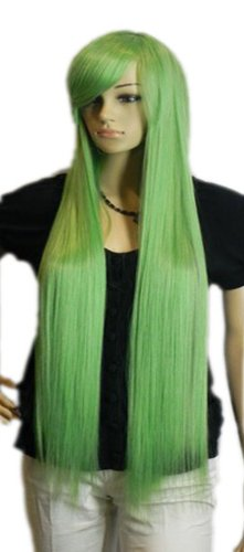 Qiyun Raide Longue Vert Synthetique Cheveux Complete Cosplay Anime Costume Perruque