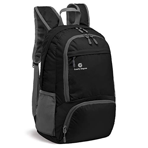 ComfyDegree 30L Rucksack Foldable Ultralight Packable Backpack, Unisex Durable Handy Daypack for Travel & Outdoor Sports (Black)