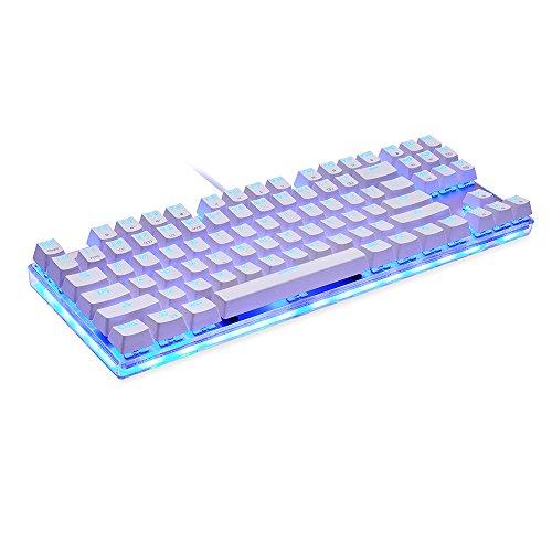 Docooler MOTOSPEED K87S Teclado mecánico para Juegos Teclado USB con Cable RGB Personalizado LED Retroiluminado con 87 Teclas( Blanco + Interruptor Azul)