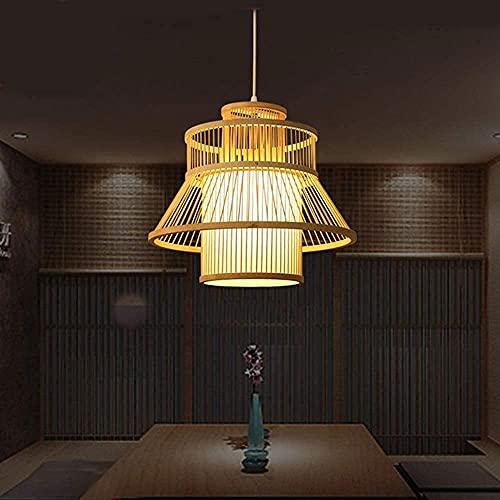 Lámparas colgantes Lámparas de bambú Chandelier Classic Retro Hecho A Mano Pantalla Pantalón Japonés Restaurante Dormitorio Balcón Decoración